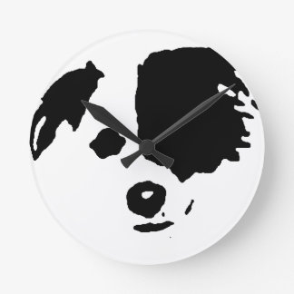 Split Face Border Collie Round Clock