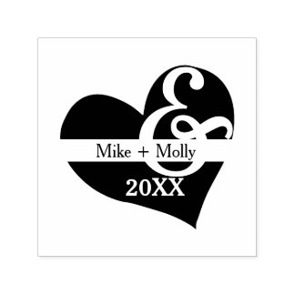 Split Heart with Couple's Names and Amperstamp Self-inking Stamp