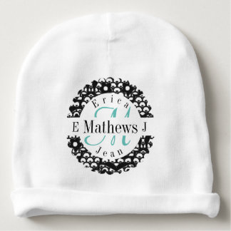 Split Monogram with Names and Initals Baby Beanie