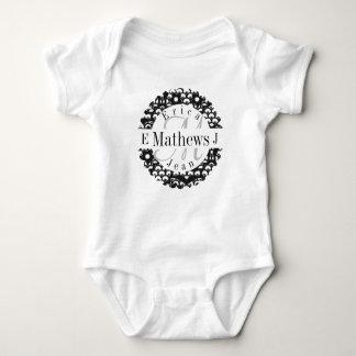 Split Monogram with Names and Initals Baby Bodysuit