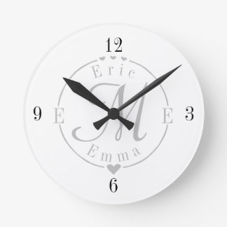 Split Monogram with Names and Initals Round Clock