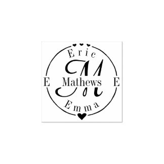 Split Monogram with Names and Initials Rubber Stamp