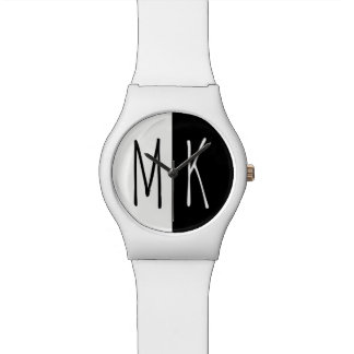 Split Monotone Monogrammed Watch