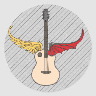 Split Personality Guitar Classic Round Sticker
