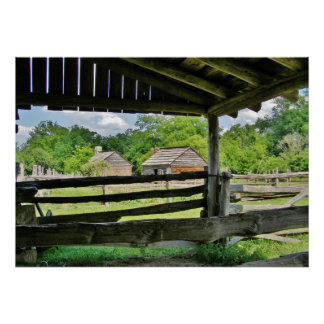 Split Rail Fence and Barn Poster