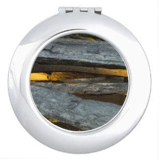 Split Rail Texture Compact Mirror