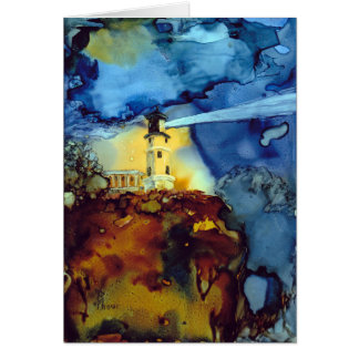 Split Rock Lighthouse At Night Card