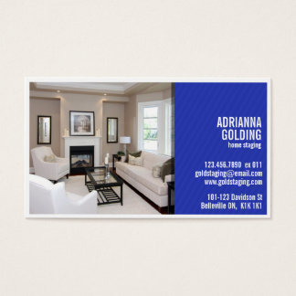 Split Staging with Photo - Blue Business Card