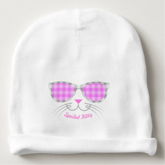Spoiled Kitty Cat Face in Pink Shades graphic Baby Beanie
