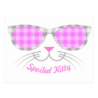 Spoiled Kitty Cat Face in Pink Shades graphic Postcard