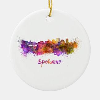 Spokane skyline in watercolor ceramic ornament