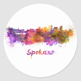 Spokane skyline in watercolor classic round sticker