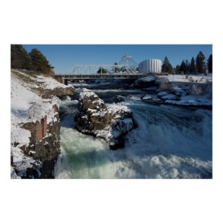 SPOKANE UPPER FALLS in WINTER Poster