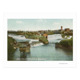 Spokane, WA - View of Middle Falls & River Postcard
