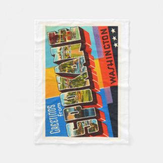 Spokane Washington WA Old Vintage Travel Souvenir Fleece Blanket