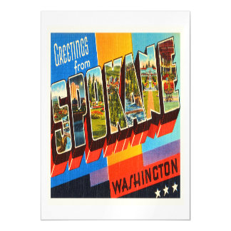 Spokane Washington WA Old Vintage Travel Souvenir Magnetic Invitations