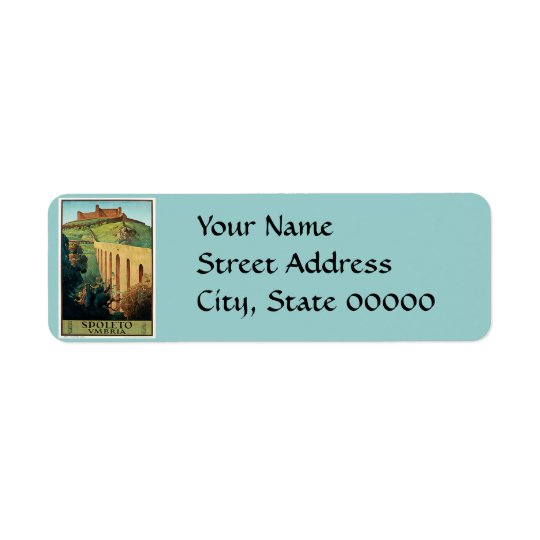 Spoleto Vmbria Vintage Travel Poster Return Address Label