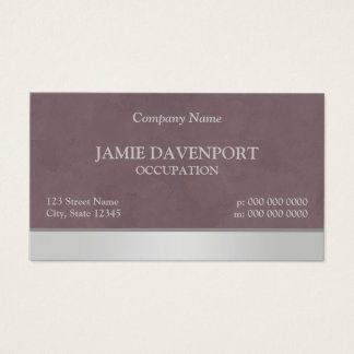 Sponged Burgundy & Silver Business Card
