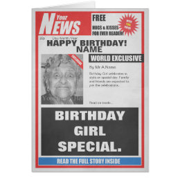 Newspaper birthday gifts on zazzle au spoof newspaper photo upload birthday card bookmarktalkfo Choice Image