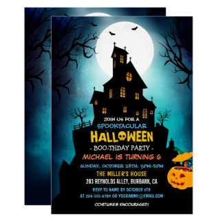 SPOOKTACULAR Costume Kids Halloween Birthday Party Card