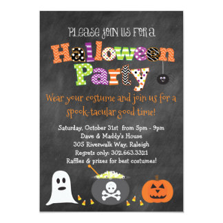 Spooktacular Halloween Party Chalkboard Invitation