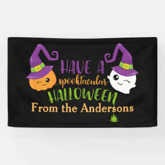 Spooktacular Halloween Party Decor Personalized Banner