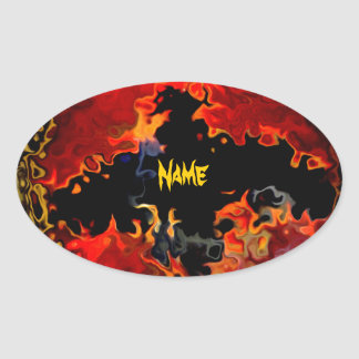 Spooky Bat on Fire Oval Sticker