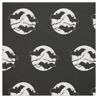 Spooky Bats In Moon Halloween Print Fabric