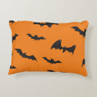Spooky Bats on Orange Decorative Cushion