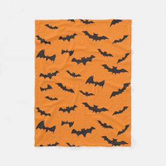 Spooky Bats on Orange Fleece Blanket