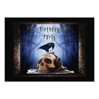 Spooky Birthday Party Invitation - The Raven