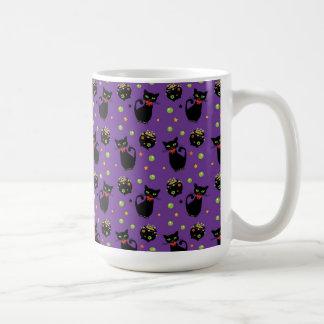 Spooky Black Cat and Cauldron Halloween Pattern Coffee Mug
