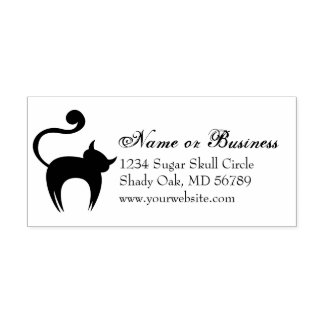 Spooky Black Cat Custom Address Self Inking Stamp