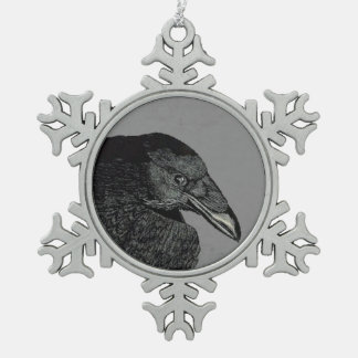 Spooky Black Crow Raven Face Pewter Snowflake Decoration