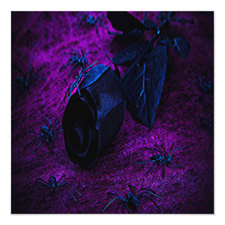 Spooky Black Material Rose, Black Spiders 13 Cm X 13 Cm Square Invitation Card