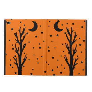 Spooky Black Silhouette Tree Crescent Moon Stars