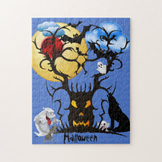 Spooky Blues Red yellow Moon Jigsaw Puzzle
