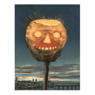 Spooky Bright Jack O Lantern Pumpkin Postcard