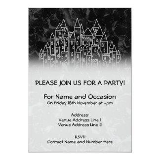 Spooky Castle Design in Black and Gray. 13 Cm X 18 Cm Invitation Card