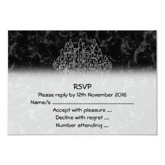 Spooky Castle Design in Black and Gray. 3.5x5 Paper Invitation Card