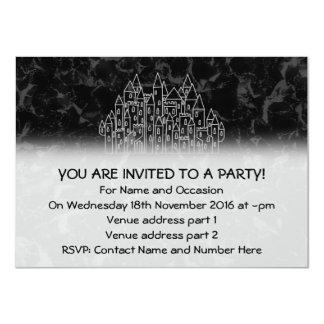 Spooky Castle Design in Black and Gray. 4.5x6.25 Paper Invitation Card