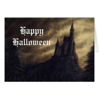 spooky castle halloween greeting card