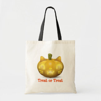 Spooky Cat Jack-O-Lantern Trick or Treat Bag