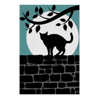 Spooky Cat Silhouette Poster