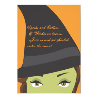 "Spooky Chic Witch Halloween Party Invitation 5"" X 7"" Invitation Card"