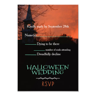 Spooky Church Halloween Wedding RSVP Card