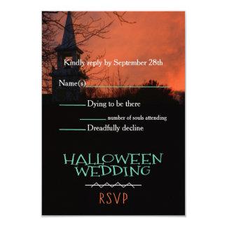 Spooky Church Halloween Wedding RSVP Card 9 Cm X 13 Cm Invitation Card