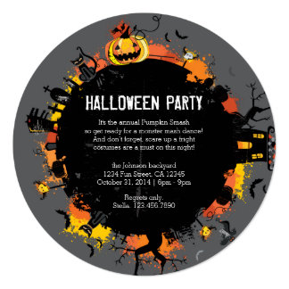"Spooky Circle Round Halloween Invitation 5.25"" Square Invitation Card"