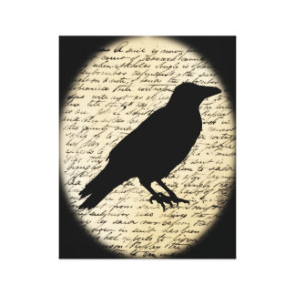 Spooky Crow on Aged Text Canvas Canvas Print