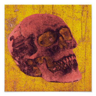 "Spooky Distressed Skull Art Poster 12"" x 12"""